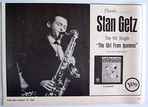 STAN GETZ 1964  Advert THE GIRL FROM IPANEMA gilberto