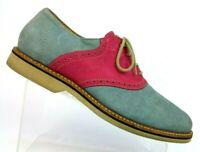 Nordstrom 1901 Blue/Pink Suede Leather Brogue Saddle Oxfords Brazil Men's 10 M