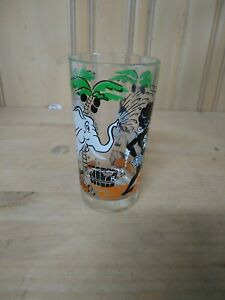Vintage Jungle African Black Americana  Cartoon Drinking Glass