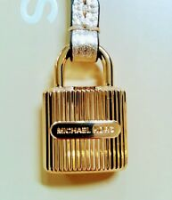 MICHAEL KORS GOLD MK LOGO LOCK STYLE CHARM / PALE GOLD LEATHER STRAP HANDBAG FOB