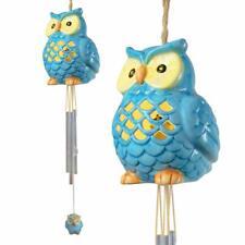 Blue Coloured LED Waterproof LED Solar Ceramic Owl Wind Chime Decoration Light