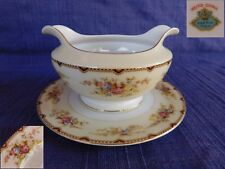 Meito NSP Round GRAVY BOAT & UNDERPLATE have more items Red & Gold Trim