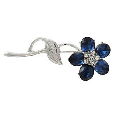 Silver Tone Blue and White Crystals Single Flower Pin Brooch