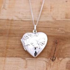 925 Sterling Silver Butterfly & flower Heart Photo Locket Pendant Jewellery