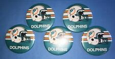 Rare Vintage 5 Lot 1980's Miami Dolphins NFL Football Button Pin A