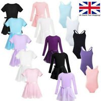 UK Kids Girls Ballet Tutu Dress Gymnastics  Dance Outfits Leotard+Chiffon Skirts