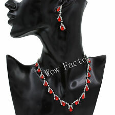 Diamante Crystal Red Silver Plated Necklace Earrings Jewellery Set UK Boxed