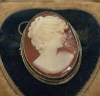Antique Vintage 800 SILVER Cameo Brooch Pin Pendant CARVED SHELL
