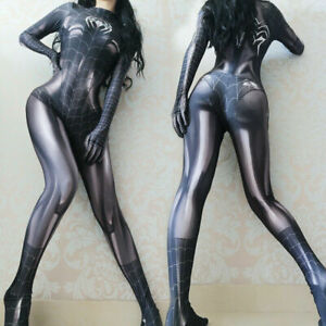 Grey Spider-Woman Jumpsuit Cosplay Costume Spider-Girl Tights Mary Halloween New