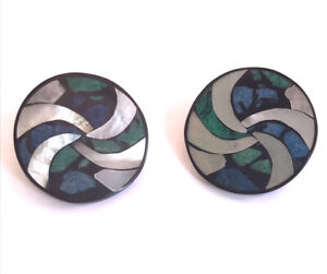 1980s Round Clip On Earrings With Mother Of Pearl and Dyed Coral ?Lee Sands