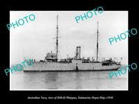 OLD HISTORIC PHOTO OF AUSTRALIAN NAVY, HMAS PLATYPUS, SUBMARINE DEPOT SHIP c1930