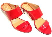 CECILY WIDE-STRAP MULE SANDALS, CRIMSON RED BY CALVIN KLEIN
