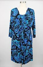 Jones New York Woman Blue Floral Ruching Jersey Stretch Dress Plus Size 22W