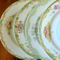 "4 Vtg Mismatched China 6.5"" Bread Dessert Plates Green Pink Yellow Florals Gold"