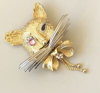 Adorable large Cat Face pin Brooch enamel on Gold Tone Metal