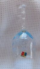 Mint Fostoria Light Blue Serenity Etched Crystal Bell  with Partial Sticker