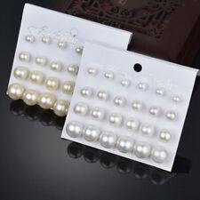 12Pair/Set  Pearl Earrings Women Wedding Bride Ear Stud Earrings Jewelry Gift'UK