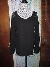 Versatile Free People knit top,black combo,size M w/crochet effect