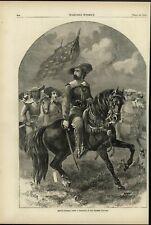 Maj. General John C. Fremont on horseback 1861 antique Harpers Civil War print