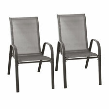 B-Ware 2er Set Stapelstühle Gartenstühle mit Textilenbespannung stapelbar Grau