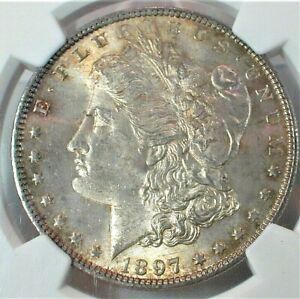 1897 USA Morgan Silver Dollar NGC MS64 Condition Toning KM#110   (362)