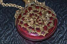 Antique Victorian en verre rouge et doré en cage Parfum Parfum CHATELAINE bouteille C1890