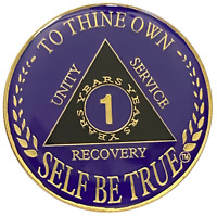 8 year AA Coin Pink Glitter Glow in the Dark Alcoholics Anonymous Medallion Chip