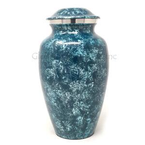 Cremation urn Aluminium Sliver Blue Large for Ashes