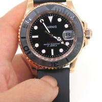 41mm Parnis Sapphire Miyota Automatic Men Watch Rose Gold Case Black Rubber Band
