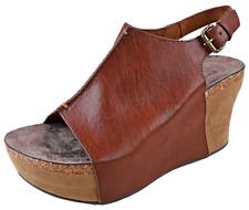 Womens Slingback High Wedge Sandal Whiskey Adjustable Buckle Pierre Dumas