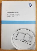 GENIUNE VW GOLF VII MK7 GTI GTD HANDBOOK OWNERS MANUAL 2012-2018 BOOK