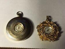 2 Women's Vintage Necklace Pendant Watch Elgin and Bercona