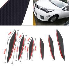 6Pc Carbon Fiber Front Bumper Lip Splitter Fins Body Spoiler Canard Splitter Kit