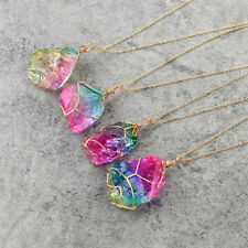 Rainbow Stone Natural Crystal Chakra Rock Chain Necklace Quartz Pendant Jewelry