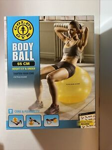 GOLD'S GYM BODY BALL 55 CM ANTI-BURST YELLOW With Exercise Chart - 5'3 and Under