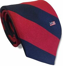 Silk Scottish American Navy Blue and Red Striped Mens Tie Flag America Scotland