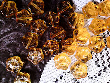 VTG 100 BIG AMBER FLOWER PRESSED GLASS SPACER BEADS 10mm THE BEST!     #050312d