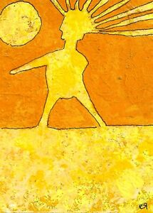 21022118 e9Art ACEO Abstract Figurative Outsider Art Brut Painting Expressionism