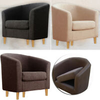 Fabric Linen Tub Backed Chair Small Sofa Accent Armchair Living Grey/Brown/Black