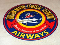 "VINTAGE ""BOSTON MAINE CENTRAL VERMONT AIRWAYS"" 11 3/4"" PORCELAIN METAL GAS SIGN!"