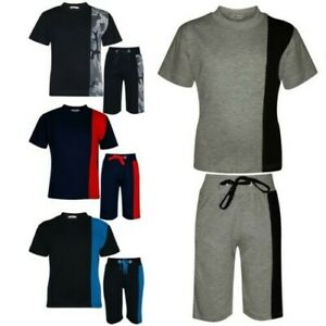Kids Boys T Shirt Shorts 100% Cotton Contrast Panel Top Summer Short Set 5-13 Yr