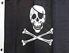 12x18 Skull Crossbones Jolly Roger Embroidered Flag Boat Flag Garden Grommets