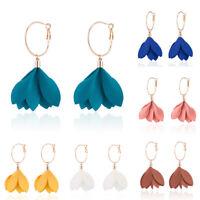 Women Tassel Flower Ear Stud Drop Long Dangle Earrings Jewelry Fashion