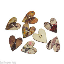 New Wood Sewing Buttons Scrapbooking Heart Random Two Holes Eiffel Tower 50PCs