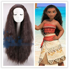 Moana Princess Maui Cosplay wig Long Fluffy Curly Dark Brown Adult&Child