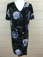 Christian Siriano Blue Roses Dress NWT Large Black Floral Shift Stretch Slimming