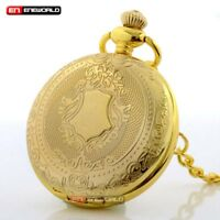 Gents Golden Stainless Steel Retro Shield Pocket Watch Quartz Chain Pendant Gift