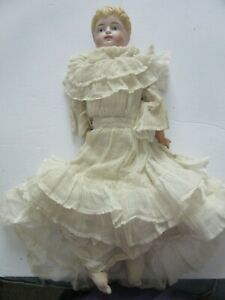 Antique Parian type kid body porcelain doll in full white gown