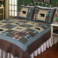 SMOKY MOUNTAIN 3pc Full Queen QUILT SET : BLACK BEAR FISH RED PLAID LODGE CABIN
