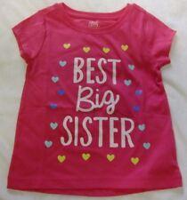 NWT BEST BIG SISTER Toddler 3T Girls T-Shirt Pink Short Sleeves